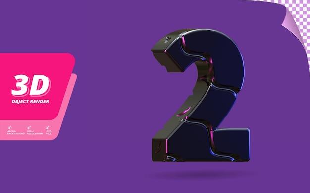 Nummer twee, nummer 2 in 3d render geïsoleerd met abstracte metalen zwarte draad textuur ontwerp illustratie