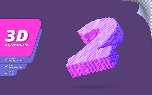 Nummer twee, nummer 2 in 3d render geïsoleerd met abstracte topografische paarse draad textuur ontwerp illustratie
