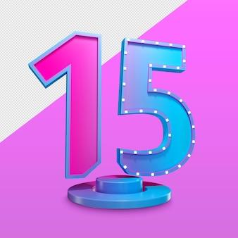 Nummer vijftien 3d render premium psd