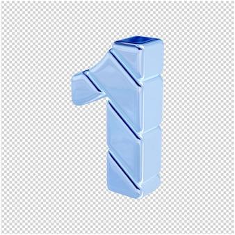 Nummers gemaakt van blauw ijs draaiden naar links. 3d-nummer 1