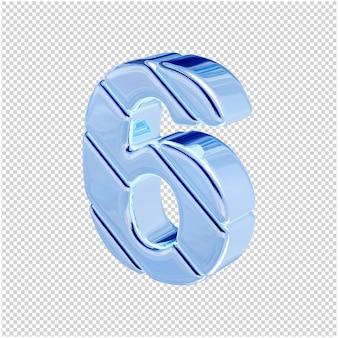 Nummers gemaakt van blauw ijs draaiden naar links. 3d-nummer 6