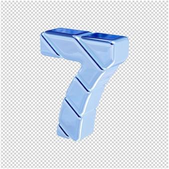 Nummers gemaakt van blauw ijs draaiden naar links. 3d-nummer 7