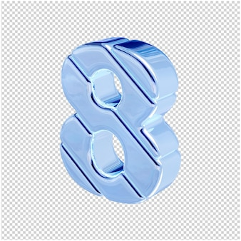 Nummers gemaakt van blauw ijs draaiden naar links. 3d-nummer 8