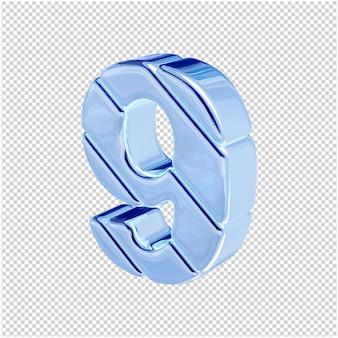 Nummers gemaakt van blauw ijs draaiden naar links. 3d-nummer 9
