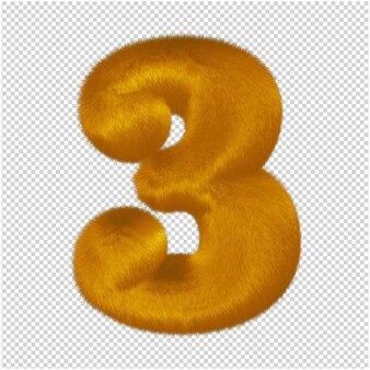 Nummers gemaakt van gemberbont. 3d-nummer 3