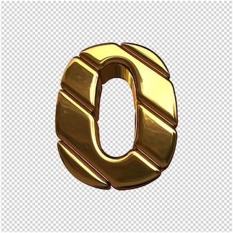 Nummers gemaakt van goudstaven. 3d-nummer 0