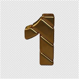 Nummers gemaakt van goudstaven. 3d-nummer 1