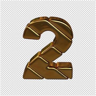 Nummers gemaakt van goudstaven. 3d-nummer 2