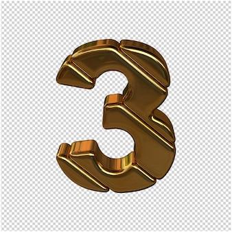 Nummers gemaakt van goudstaven. 3d-nummer 3