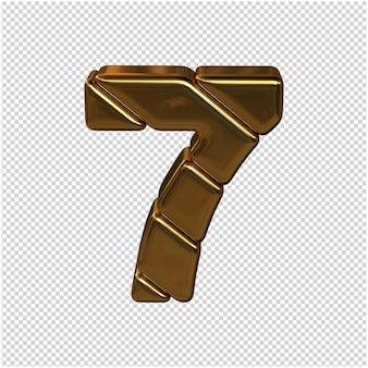 Nummers gemaakt van goudstaven. 3d-nummer 7 Premium Psd
