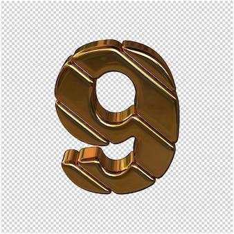 Nummers gemaakt van goudstaven. 3d-nummer 9 Premium Psd