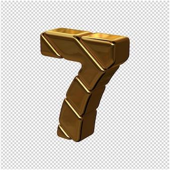 Nummers gemaakt van goudstaven gedraaid naar links. 3d-nummer 7