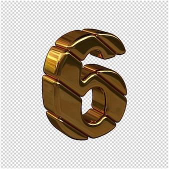 Nummers gemaakt van goudstaven naar rechts gedraaid op een transparante achtergrond. 3d-nummer 6
