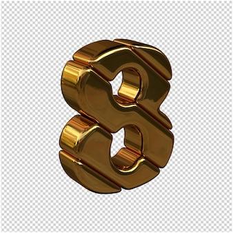 Nummers gemaakt van goudstaven naar rechts gedraaid op een transparante achtergrond. 3d-nummer 8