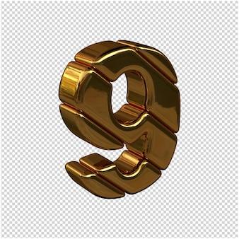 Nummers gemaakt van goudstaven naar rechts gedraaid op een transparante achtergrond. 3d-nummer 9