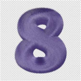 Nummers gemaakt van paars bont. 3d-nummer 8