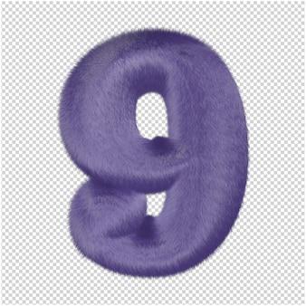 Nummers gemaakt van paars bont. 3d-nummer 9