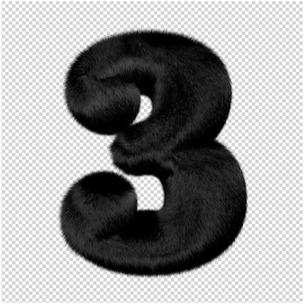 Nummers zijn gemaakt van zwart nertsbont. 3d-nummer 3