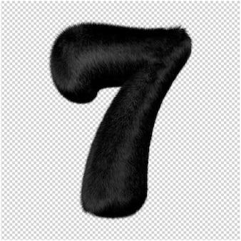 Nummers zijn gemaakt van zwart nertsbont. 3d-nummer 7