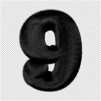 Nummers zijn gemaakt van zwart nertsbont. 3d-nummer 9