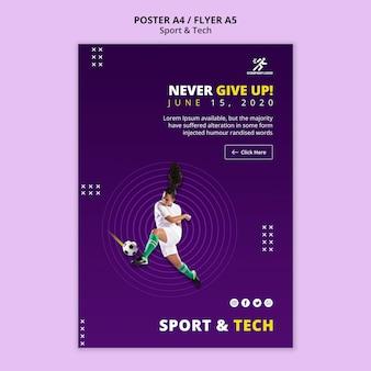 Nunca te rindas plantilla de póster de fútbol niña