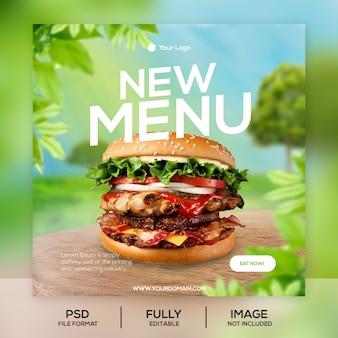 Nuovo modello di post di instagram di menu