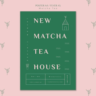 Nuovo modello di poster della casa da tè matcha