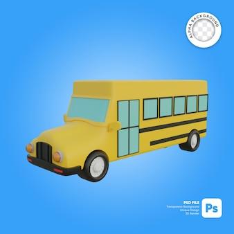 Objeto 3d de aspecto frontal de autobús escolar clásico