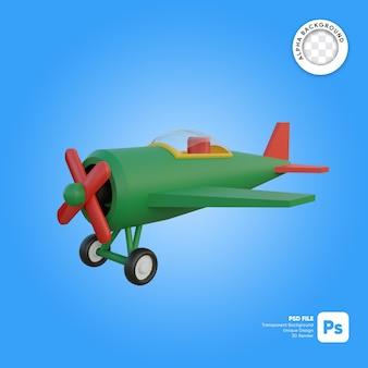 Objeto 3d de aspecto frontal de avión clásico