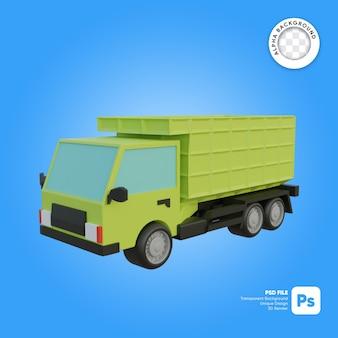 Objeto 3d de aspecto frontal de camión de arena o camión volquete