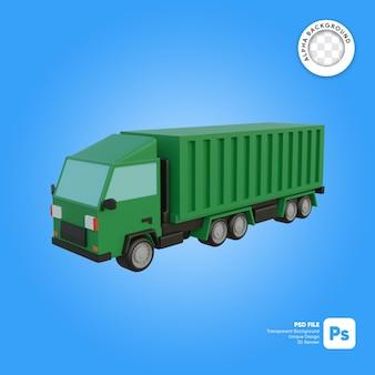 Objeto 3d de aspecto frontal de camión de carga