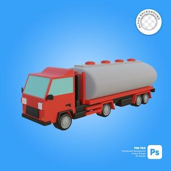 Objeto 3d de aspecto frontal de camión de gasóleo