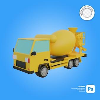 Objeto 3d de aspecto frontal de camión hormigonera