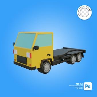 Objeto 3d de aspecto frontal de camión vacío