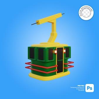 Objeto 3d de aspecto frontal de estilo de dibujos animados de cielo de teleférico de navidad