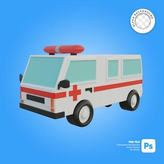 Objeto 3d de mirada frontal de ambulancia