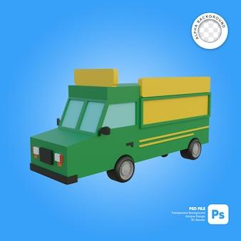 Objeto 3d de mirada frontal de camión de comida