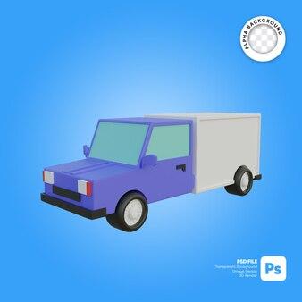 Objeto 3d de mirada frontal de camión de reparto