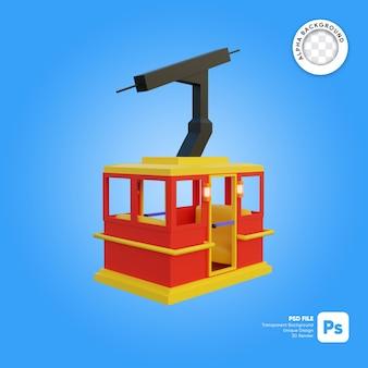 Objeto 3d de vista frontal de estilo de dibujos animados de cielo de teleférico