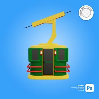 Objeto 3d de vista lateral de estilo de dibujos animados de cielo de teleférico de navidad