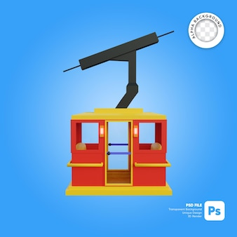 Objeto 3d de vista lateral de estilo de dibujos animados de cielo de teleférico