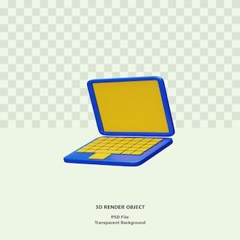 Objeto de ilustración de icono de bluelaptop 3d renderizado psd premium
