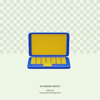 Objeto de ilustración de icono de computadora portátil 3d renderizado psd premium