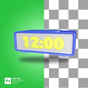 Objeto de representación 3d de reloj digital azul con números 12