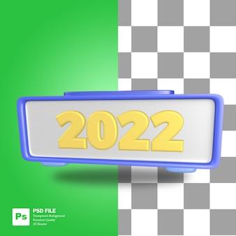 Objeto de representación 3d de reloj digital azul con números 2022