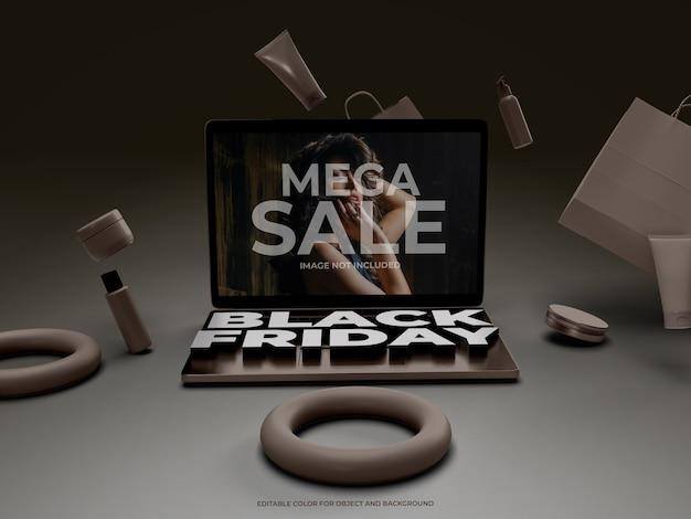 Objetos 3d y laptop para black friday