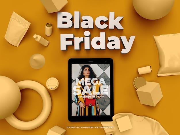 Objetos 3d y tablet para black friday