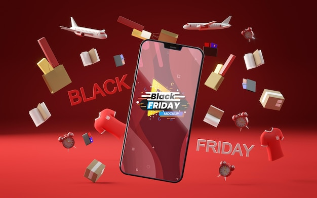 Objetos 3d y teléfono para el viernes negro sobre fondo rojo.