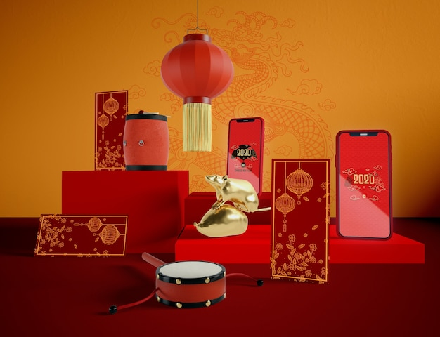 Objetos tradicionales chinos para fin de año