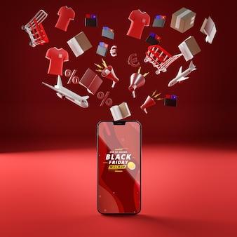 Objetos voladores 3d y fondo rojo de la maqueta del teléfono móvil